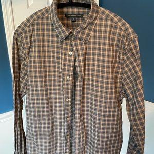 John Varvatos Button Down Shirt, M, Gray/Tan Plaid
